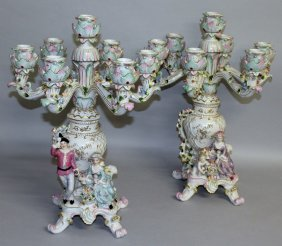 """A Large Pair Of """"dresden"""" Seven Light Candelabra, The"""