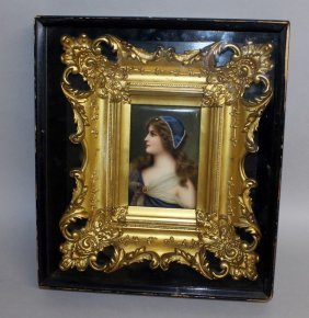 A Superb Continental Upright Porcelain Plaque, Portrait