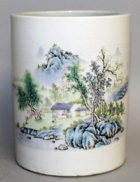 A Chinese Famille Rose Porcelain Brushpot, The Base