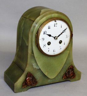 An Art Deco Green Onyx Mantle Clock, Eight Day With