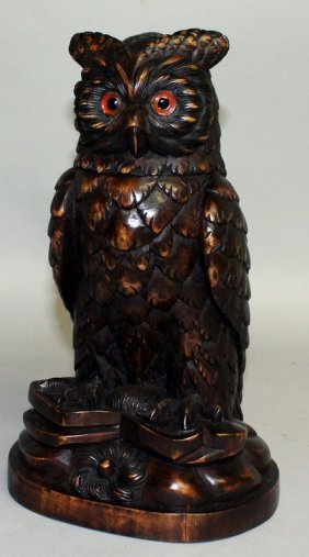 """A Good """"black Forest"""" Carved Wood Owl With Detachable"""