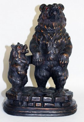 """A Good """"black Forest"""" Carved Wood Group Of A Large And"""