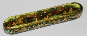 A Good 19th Century Persian Qajar Qualamdan Lacquer Pen