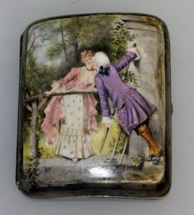 A Continental Silver Cigarette Case, The Lid With 18th