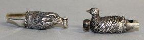 A Pair Of Silver Novelty Bird Whistles.