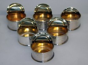 A Set Of Six Italian Silver Half Opened Cans.