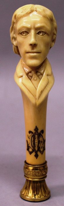 A Carved Ivory Desk Seal With Gold Mounts And