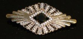 A Silver Gilt Deco Style Gem Set Brooch.
