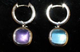 A Pair Of Amethyst And Blue Topaz Reversible Earrings.