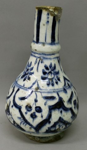 An Early Indo-persian Blue & White Ceramic Vase,