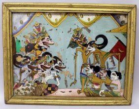 An Early 20th Century Framed Indonesian Reverse Glass
