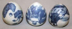 A Group Of Three Chinese Blue & White Porcelain Bird