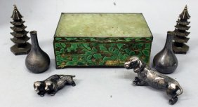 An Early 20th Century Chinese Enamelled Metal & Jade