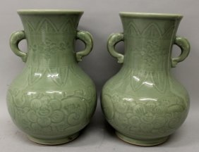 A Pair Of 19th/20th Century Chinese Celadon Porcelain
