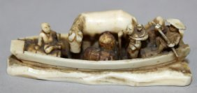 An Unusual Small Signed Japanese Ivory Okimono, Carved