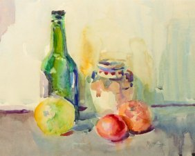 Matt Bruce (1915-2000) British. Still Life, With Fruit