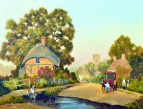 Arthur Lokie (1948- ) British. A Village Scene, With