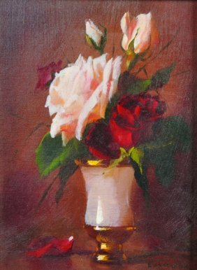 20th Century Russian School. Still Life Of Flowers In A