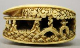 A Japanese Meiji Period Ivory Netsuke Of The Clam's