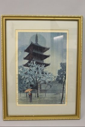 An Original Framed Japanese Woodblock Print By Kiro