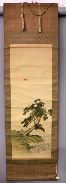 A Japanese Hanging Scroll Painting On Silk, Depicting A