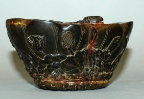 A Chinese Horn Carving, In The Form Of A Lotus Pod, The