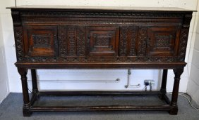 1. A Good 17th Century Oak Cupboard On Stand, Dated