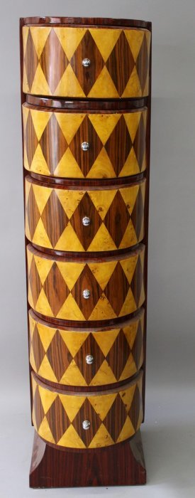 25. An Unusual Art Deco Design Tall Chest, With Six