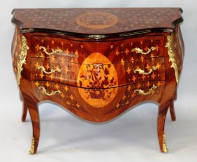 37. A Louis Xvi Style Rosewood, Ormolu And Marquetry