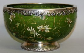 86. A Superb Galle Silver Mounted Circular Bowl,