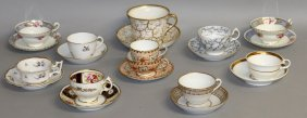 125. Ten 19th Century Cups And Saucers Or Trios From