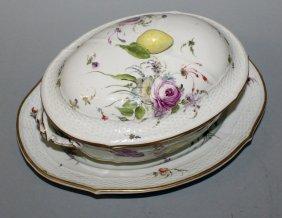 158. A Good Furstenberg Porcelain Basket Weave Tureen,