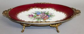 173. A Good Limoges Oval Fruit Dish, Painted With