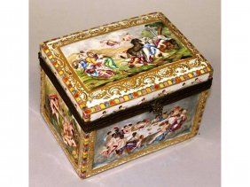 191. A Small Capo Di Monte Rectangular Casket With