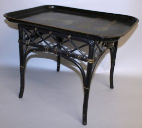 247. A Chinese Rectangular Lacquer Tray Table On