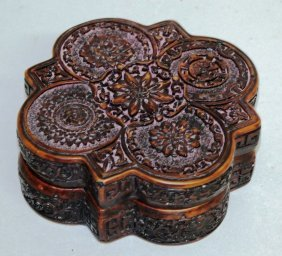 250. A Treacle Ware Shaped Box And Cover. 6ins Wide.