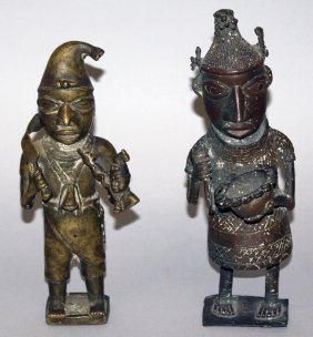 389. Two Benin Bronze Figures, One Holding A Bowl, The