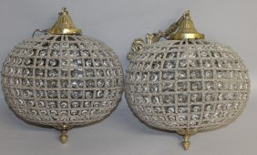 398. A Pair Of Crystal Ball Shaped Hanging Lights.