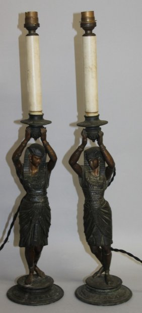 431. A Pair Of 19th Century Spelter Egyptian Revival