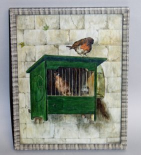 434. A Small Framed Oil, A Robin Looking At A Bird In