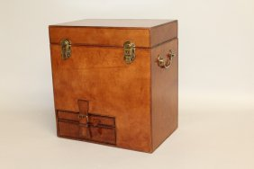 507. A Large Leather Champagne Hamper With Rising Top,