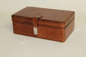 510. A Small Leather Trinket Jewellery Box. 8ins