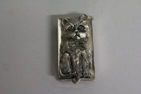 """562. A Silver Novelty """"cat"""" Vesta."""