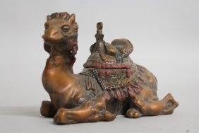 639. A Cold Cast Painted Bronze Camel Inkwell. 5ins