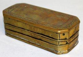 663. A Georgian Brass Tobacco Box. 5.75ins Long.