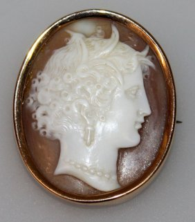 683. A Good Victorian Oval Gold Mounted Cameo Brooch.