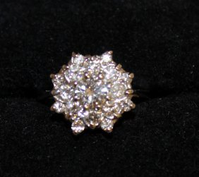 689. A Lovely Diamond Daisy Cluster Ring Of Approx.