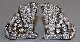 722. A Superb Pair Of Art Deco White Gold Diamond Set