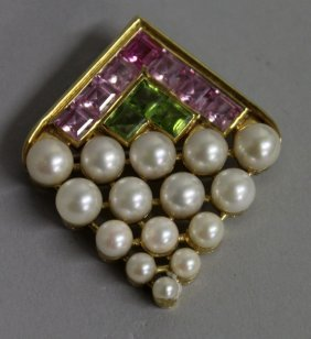 734. A Good Pearl, Peridot And Amethyst Brooch, Set In