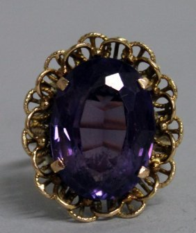 749. A Good Large Amethyst Dress Ring In Yellow Gold.